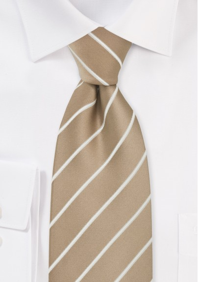 Beige Striped Mens Necktie