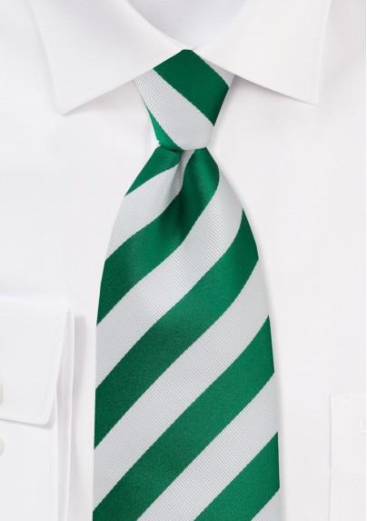 Metallic Green and White Striped Tie