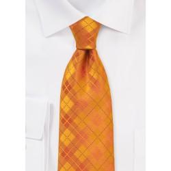 Bright Orange Plaid Tie for Men