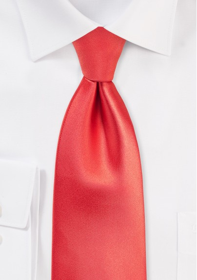 Extra Long Tie in Neon Coral