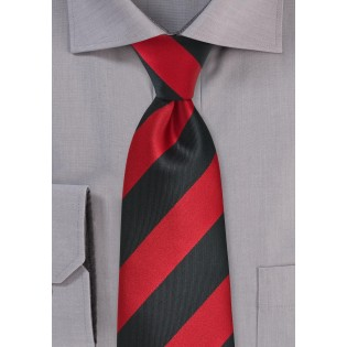 Wide Striped Tie in Black and Red