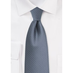 Pin Stripe Necktie in Gray and Silver