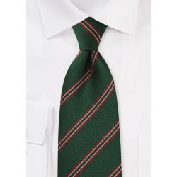 XL Regimental Striped tie in Dark Green, Red, Gold, and Blue