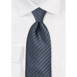 Graphite Tie with Black Stripes