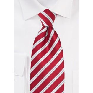 Bright Red Striped Tie
