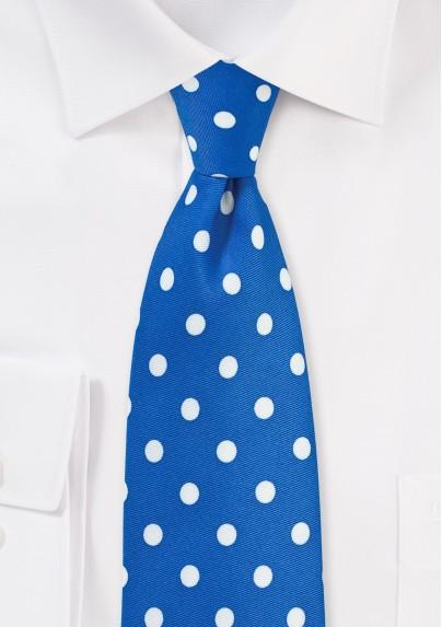 Bright Blue and White Polka Dot Tie
