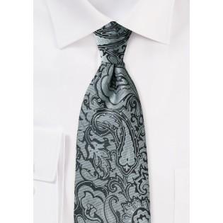 Steel Gray Paisley Tie in XL