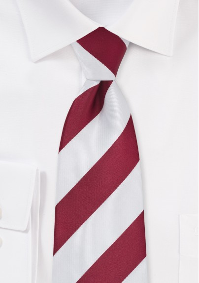 Cherry Red and White Striped Mens Tie