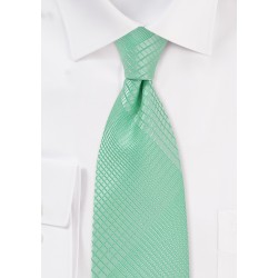 Geometric Plaid Tie in Bright Mint Color