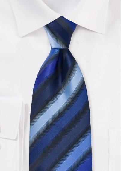 Striped Tie in Tonal Blues