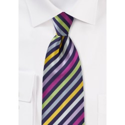 Striped Multi-Colored Tie in Outstanding Purples and Other Colors