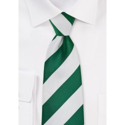 Hunter Green and White Striped Necktie