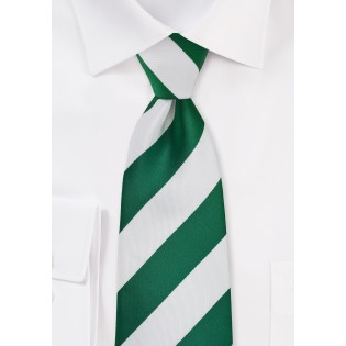 Hunter Green and White Striped Necktie