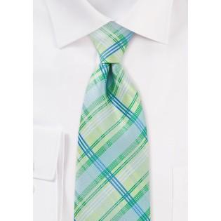 Light Green Checkered Necktie
