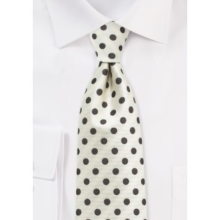 Cream Summer Tie with Brown Polka Dots