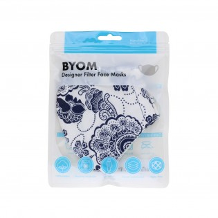 White and Navy Floral Paisley Cotton Filter Mask in Bag