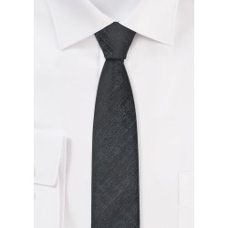 Ultra Slim Tie in Textured Silver