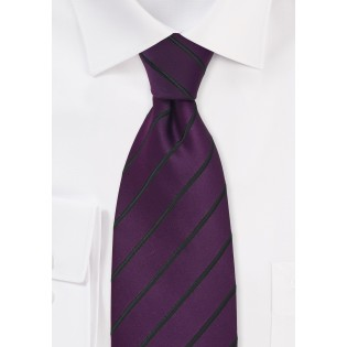 Eggplant Purple and Black Striped Tie