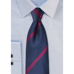 Modern Striped Tie in Navy and Red