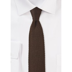 Coffee Brown Knitted Silk Tie