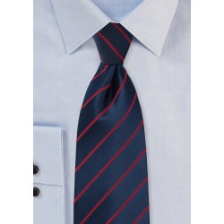 Midnight Blue Tie with Persian Red Stripes in XL Length
