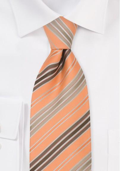 Orange, Brown and tan striped necktie
