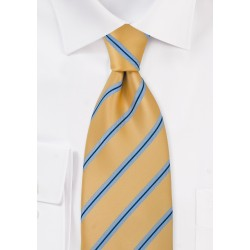 Striped Tie in Yellow and Blue