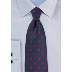 Navy Tie with Red Polka Dots