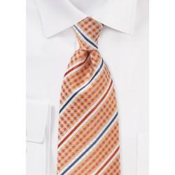 Orange Check & Striped Tie with Satin Finish