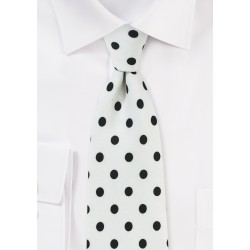 White Designer Tie with Navy Polka Dots