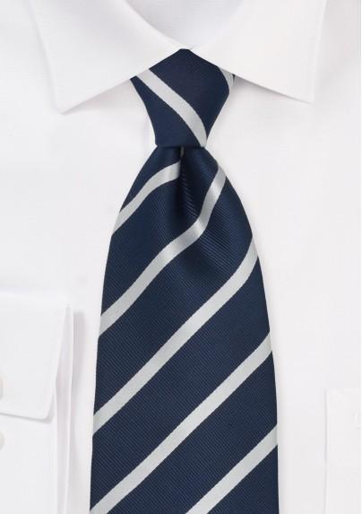 Navy Blue & Silver Striped Silk Tie
