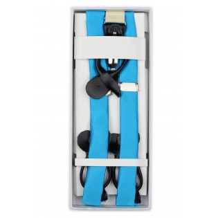 Cyan Blue Satin Fabric Suspenders in Box