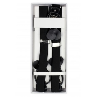 Elegant Satin Black Suspenders in Box