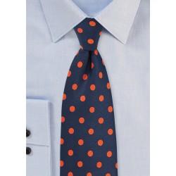 Navy and Orange Polka Dot Tie