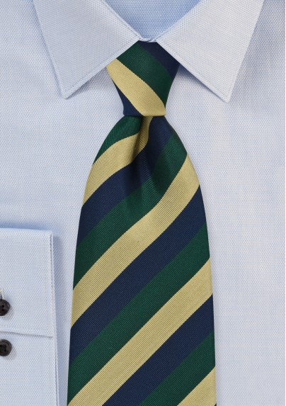 Regimental Tie in Navy, Green and Gold