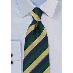 XL Length Regimental Tie in Navy, Green and Gold