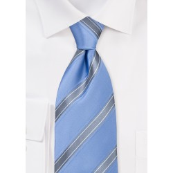 Sky Blue and Silver Striped Tie