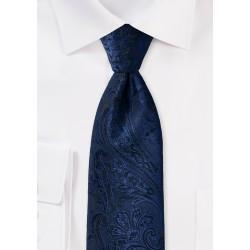 XL Paisley Tie in Midnight Navy