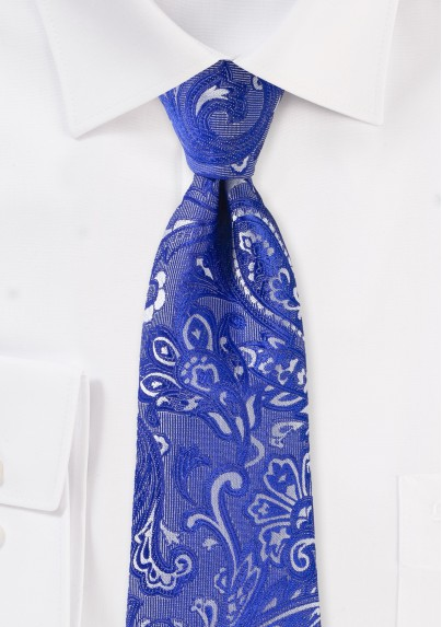 Formal Summer Paisley Tie in Morning Glory Blue
