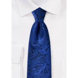 Royal Blue XL Paisley Tie