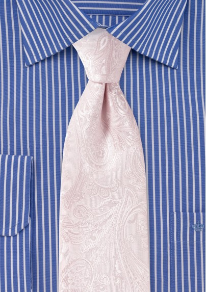 Extra Long Paisley Tie in Bridal Pink