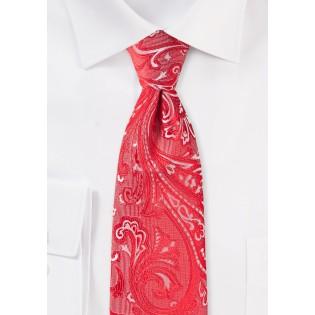 Bright Poppy Red Paisley Tie