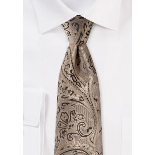Bronze Gold Paisley Tie
