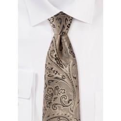 Bronze Gold Paisley Tie in XL