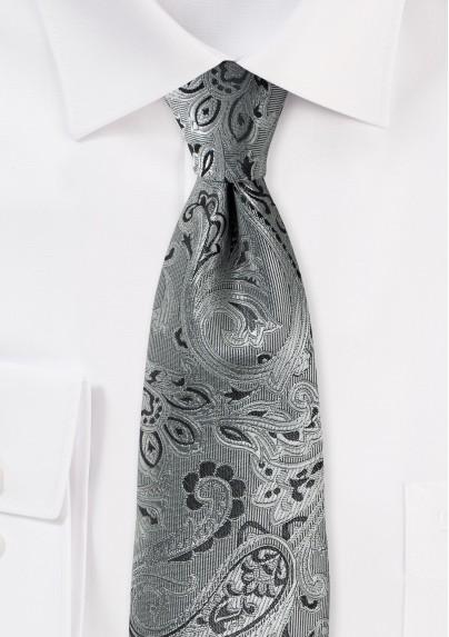 Rich Paisley Tie in Mercury Silver