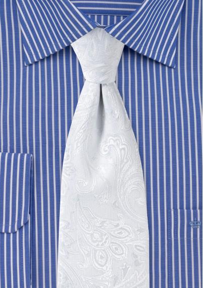 Bright White Mens Paisley Tie