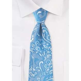 Woven Paisley Tie in Blue Jay
