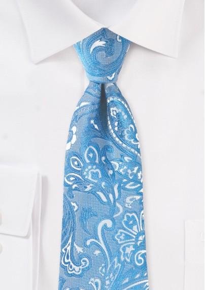 Blue Jay Hued Paisley Tie in XL