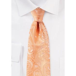 Peach Orange Paisley Tie in XXL