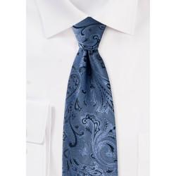 Steel Blue Paisley Tie